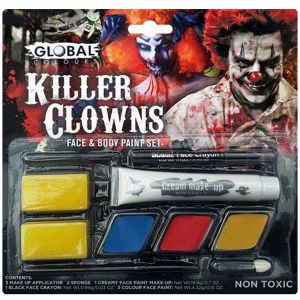 Killer Clown Make Up Kit - Face & Body Paint Cake Set