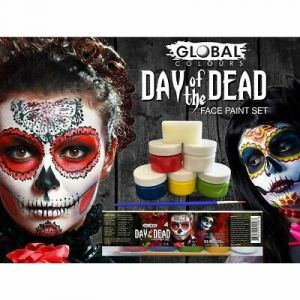 DAY OF THE DEAD set - Face & Body Paint Liquid 6pkt Global Colours