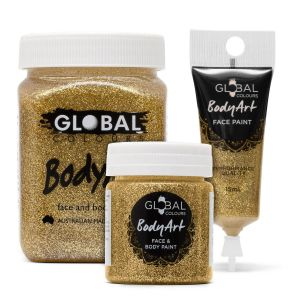 Gold Glitter 15/45/200ml Global Colours Body Art Face Paint Professional Makeup