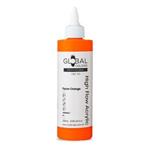 Fluoro Orange - Global Colours High Flow PROFESSIONAL Acrylic