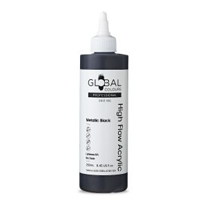 Metallic Black - Global Colours High Flow PROFESSIONAL Acrylic