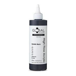 Metallic Black - Global Colours High Flow PROFESSIONAL Acrylic