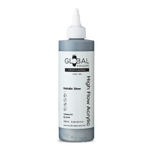 Metallic Silver - Global Colours High Flow PROFESSIONAL Acrylic