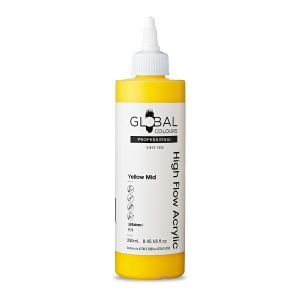 Yellow Mid - Global Colours High Flow PROFESSIONAL Acrylic
