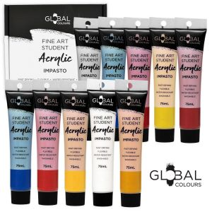 10 Colour 75ml PAINT TUBE SET Global Colours Student Fine Art Acrylic Colors
