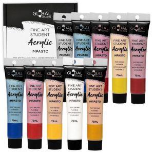 10 Colour 75ml PAINT TUBE SET Global Colours Student Fine Art Acrylic Colors