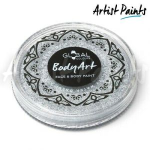 METALLIC SILVER - 32g Global Colours Professional Face Paint Makeup Cake Body