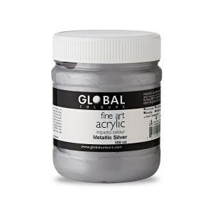 Metallic Silver - Global Colours Fine Art Acrylic Impasto 500ml