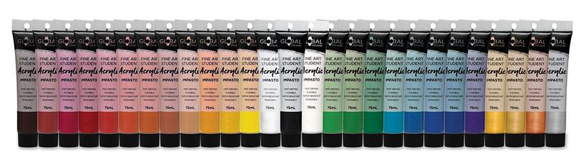 Global Colours student acrylic range 75ml