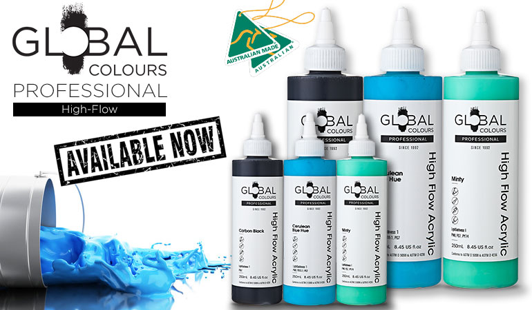 Global Colours Professional High Flow Acrylic Paints - Now Available
